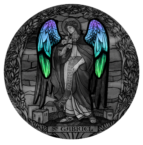 ARCHANGEL GABRIEL with Glass insert - 2 Oz Silver Coin 2000 Francs Cameroon 2020