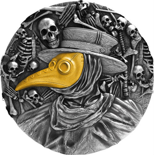 MASK OF PLAGUE DOCTOR - 2 OZ Silver Coin Antique Finish 2019 Niue