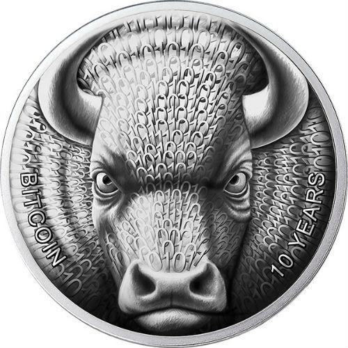 BINARY BULL -SOL NOCTIS –10 Years Ann. of BITCOIN 2019 1 OZ Silver Coin 1 MBTC