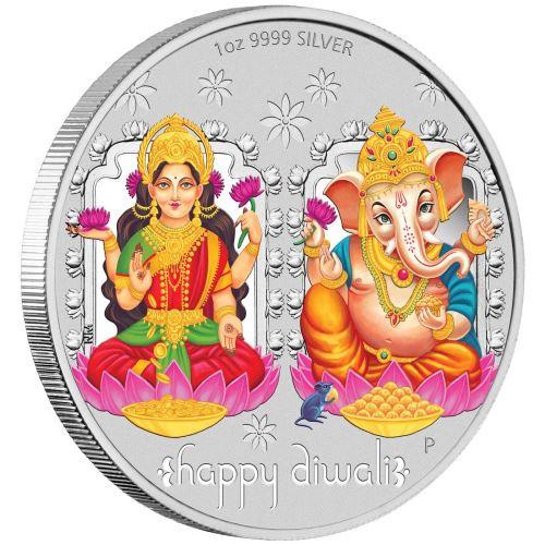 DIWALI FESTIVAL 1 Oz Silver Coin 1$ Tuvalu 2019