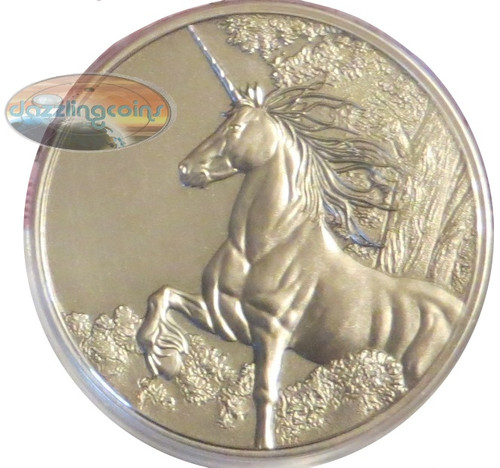 Tokelau 2014 1 oz Antique Finish Silver $5 UNICORN Coin