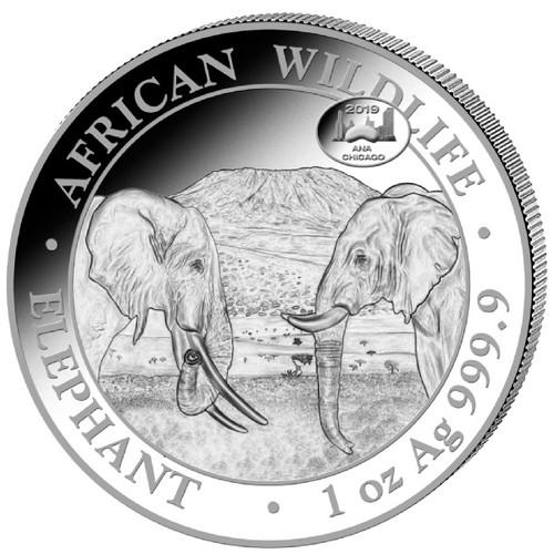 ELEPHANT EXCLUSIVE Chicago ANA PRIVY- 1 oz Silver Coin 2019 Somalia