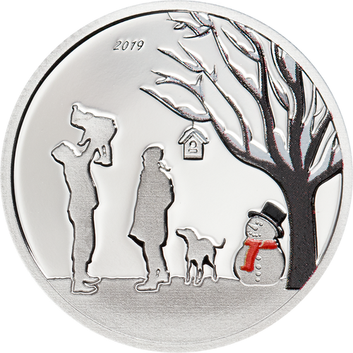 WINTER WONDERLAND Snow Globe Silver Coin Cook Islands 2019