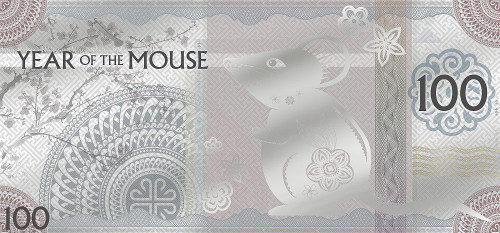 YEAR OF THE MOUSE Foil Silvernote 100 Togrog Mongolia 2020