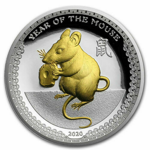 Year of the Mouse - 1 oz Proof Gilded Silver Coin - High Relief 2020 Palau