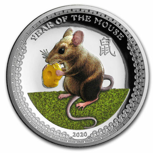 Year of the Mouse - 1 oz Proof Color Silver Coin - High Relief 2020 Palau
