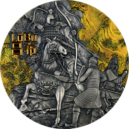 LU BU Warriors of Ancient China Gold Plating 3 Oz Silver Coin Niue 2019