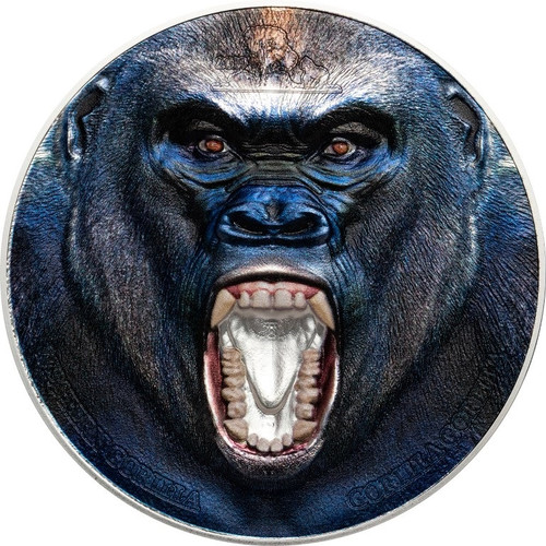 WESTERN GORILLA Rare Wildlife 2 Oz Silver Proof Coin Tanzania 2019