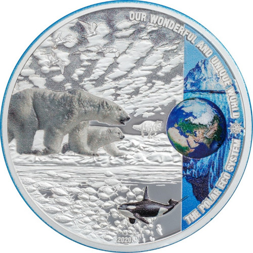THE POLAR ECOSYSTEMS 2 oz $10 Silver coin Palau 2020