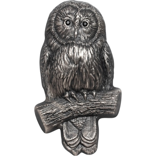 URAL OWL 3D shaped 2 Oz Silver Coin 1000 Togrog Mongolia 2019