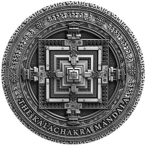 KALACHAKRA MANDALA  2 Oz Silver Ultra  High relief Coin $5 Niue 2019