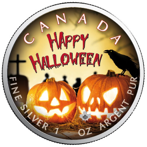 HALLOWEEN BLOOD Run Cold - Maple Leaf 1 oz Silver Coin Canada 2019