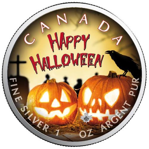 HALLOWEEN BLOOD Run Cold - Maple Leaf 1 oz Silver Coin Canada 2019