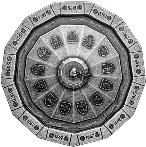 THE CENTENNIAL FLAME – Unique shape $50 3 oz Silver coin Canada 2019