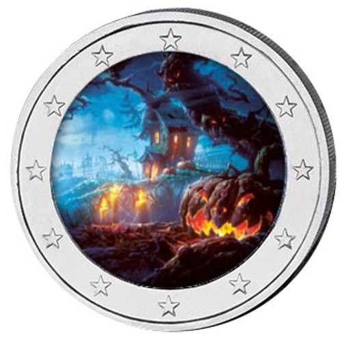 2019 HALLOWEEN Colored Coin 2 EURO with OGP