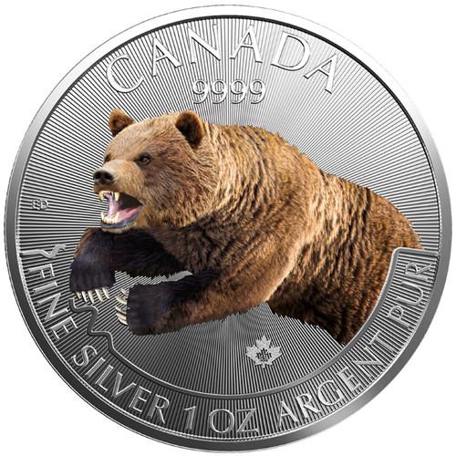 GRIZZLY Predators in Color Maple Leaf 1 oz Silver Coin Canada 2019
