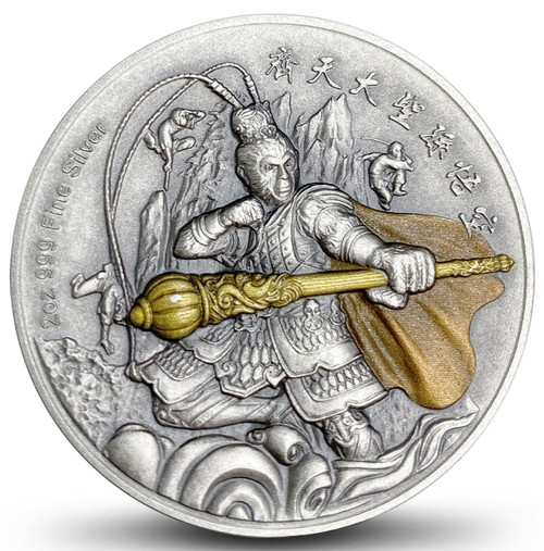 SUN WUKONG Monkey King 2 oz Silver High Relief Coin $5 Niue 2019