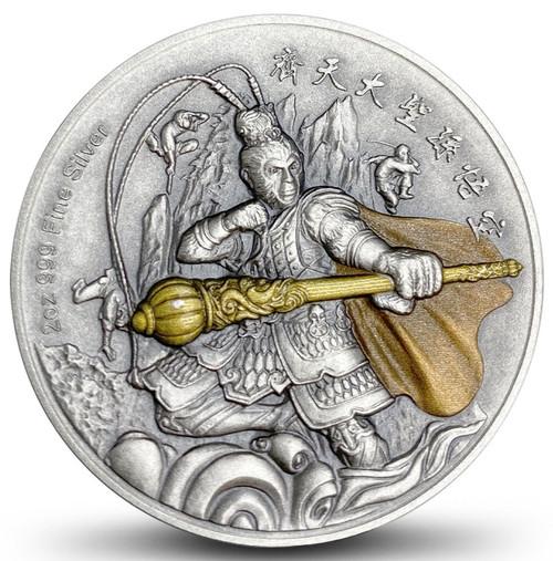 SUN WUKONG Monkey King 2 oz Silver High Relief Coin $5 Niue 2019