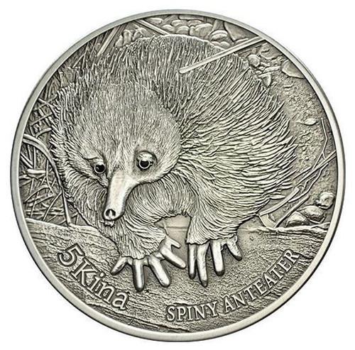 Spiny Anteater 5 Kinas 1 oz .999 pure silver & two real black diamonds.