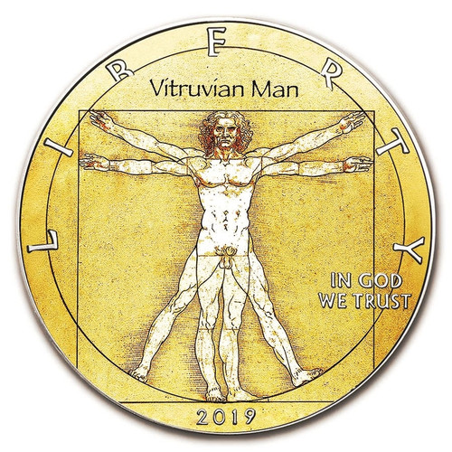 DA VINCI Vitruvian Man 1oz Silver Eagle Colorized Coin 2019