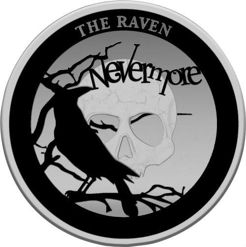 RAVEN Spooky Stories - Edgar Allan Poe 2 oz Silver Rhodium PL. Coin 5$ Niue 2020
