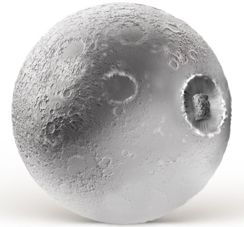 3D MOON Ball with Moonrock  insert 2 oz Silver Coin $2 Niue 2019