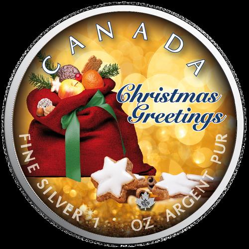 CHRISTMAS GREETINGS Maple Leaf 1 oz Silver Coin Canada 2019