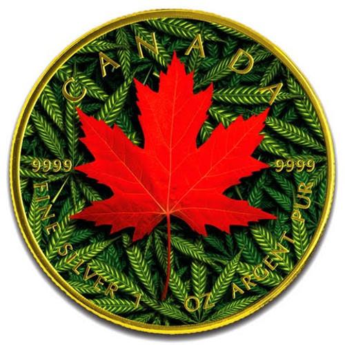 MARIJUANA Cannabis Maple Leaf 1 oz Silver Coin Canada 2019