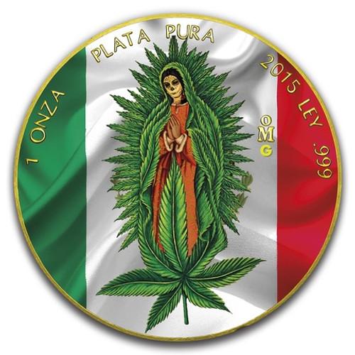SANTA MUERTE Cannabis Libertad 1 oz Silver Coin Mexico 2019