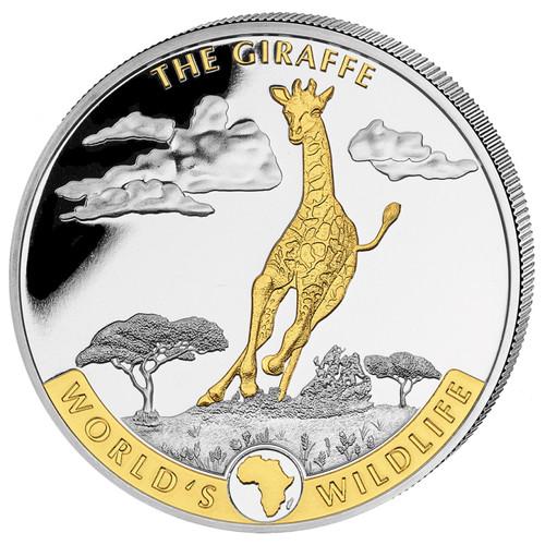 GIRAFFE African Wildlife 1 oz Silver Gold Gilded Coin 2019 Congo