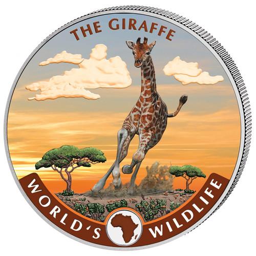 GIRAFFE African Wildlife 1 oz Silver color  Coin 2019 Cong