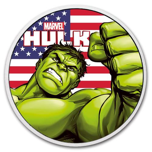 HULK US Flag Marvel series 1 oz Silver Ruthenium Coin Tuvalu 2018