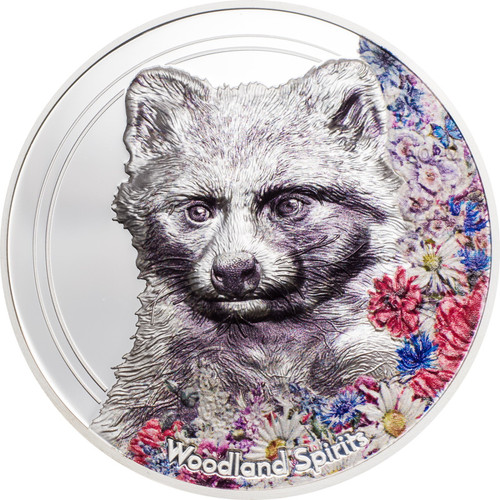 RACCOON DOG Woodland Spirits 1 oz  Silver Coin Mongolia 2020