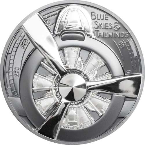 AIRPLANE PROPELLER Blue Skies 2 oz Silver Black Proof Coin Cook Island 2020