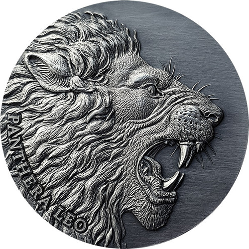 LION Panthera Leo 2 oz Antique finish Silver Coin Cameroon 2020