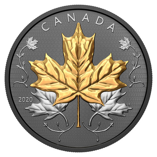 MAPLE LEAVES MOTION 5 oz Silver Proof Coin Gold & Rhodium Coin $50 Canada 2020