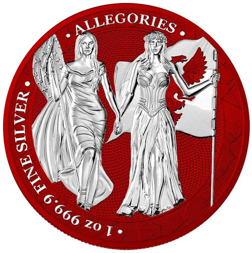 COLUMBIA  & GERMANIA 2019 – The Allegories  Space Red 5 Mark 1 oz  Silver Coin