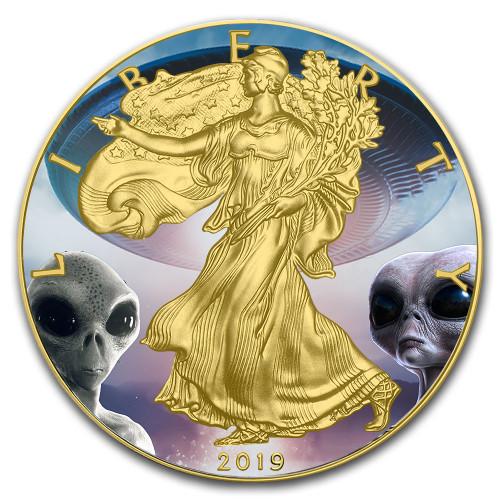 AREA 51  Silver Eagle 1 oz Gold plated  Coin USA 2019