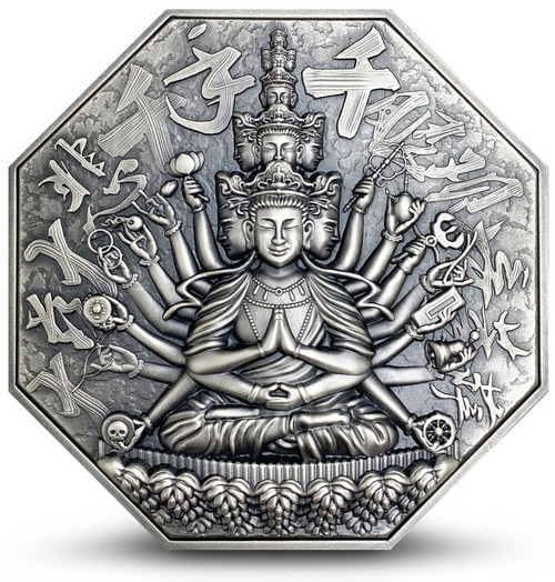 GODDESS OF MERCY WITH ONE THOUSAND HANDS Avalokiteśvara 5 oz Silver Coin Niue 2020