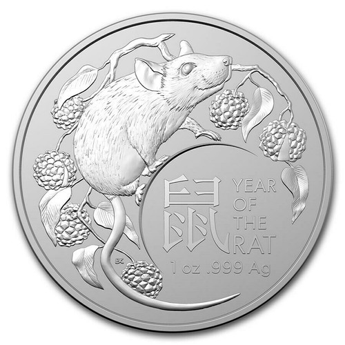 YEAR of RAT 1 oz Fine Silver Coin Australia 2020