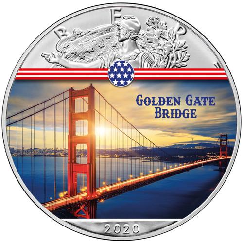 GOLDEN GATE BRIDGE Landmarks USA 1 oz Silver Coin 2020 USA