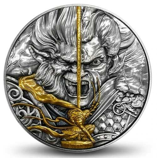 MONKEY KING VS ERLANG GOD Mythology 2 oz Silver Coin  Niue 2020