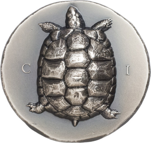 TORTOISE Turtle Smartminting© ultra high relief. 1 oz Silver Coin Cook Islands 2020