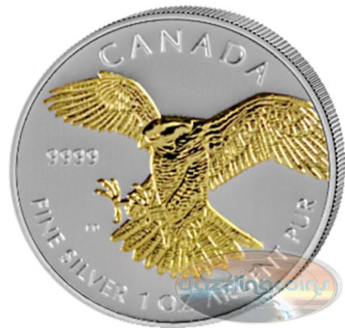 1 OZ Birds of Prey 2014 - Peregrine Falcon GILDED Canadian Series .9999