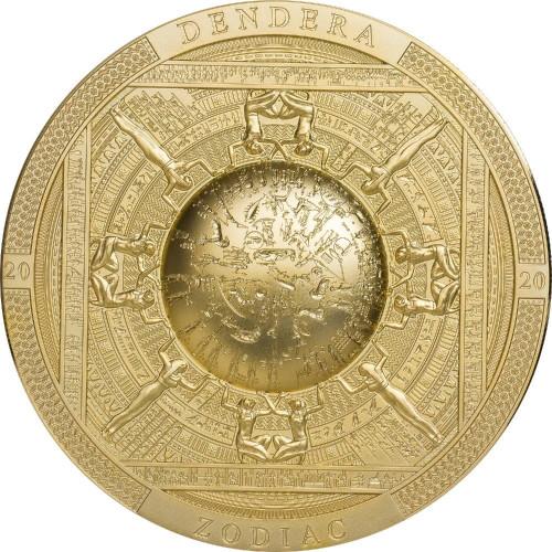 DENDERA Zodiac Egypt Gilded 3 oz Silver Antique Coin Cook Islands 2020