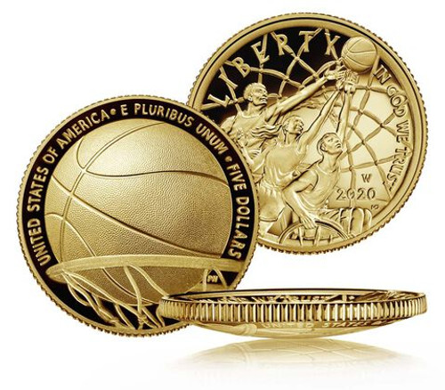 Basketball Hall of Fame Proof $5 Gold Coin USA 2020