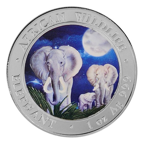 2014 1 oz Silver Coin - Somalia African Elephant - Color Night