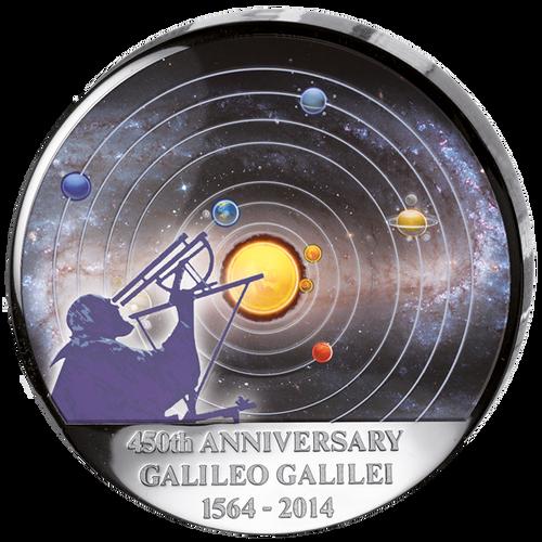 Galileo Galilei 450th Ann. Silver BU 30 Francs Congo 2014