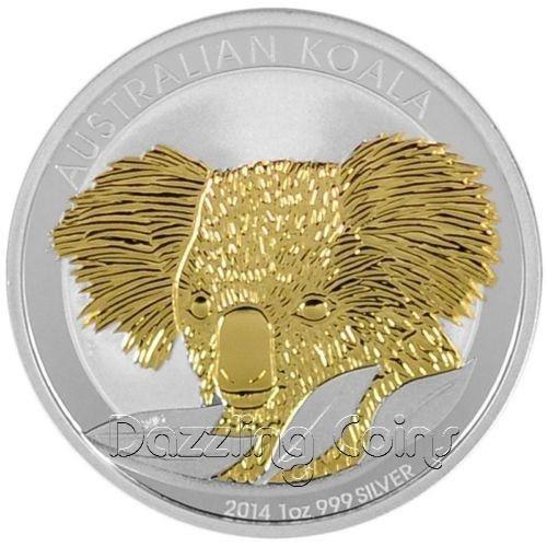 2014 1 oz Silver Coin - Australian Silver Koala - Gilded
