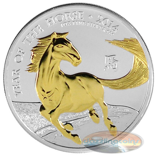 2014 £2 UK 1 Oz .999 Silver Year of the Horse Coin Gilded
